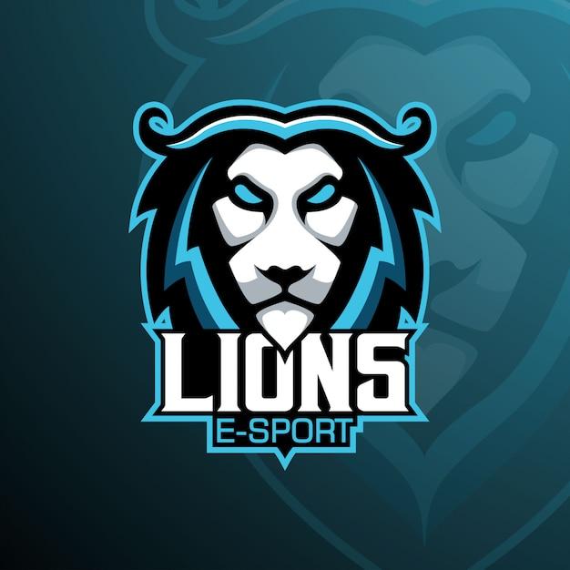 Lion e-sport mascot-logo Premium Vector