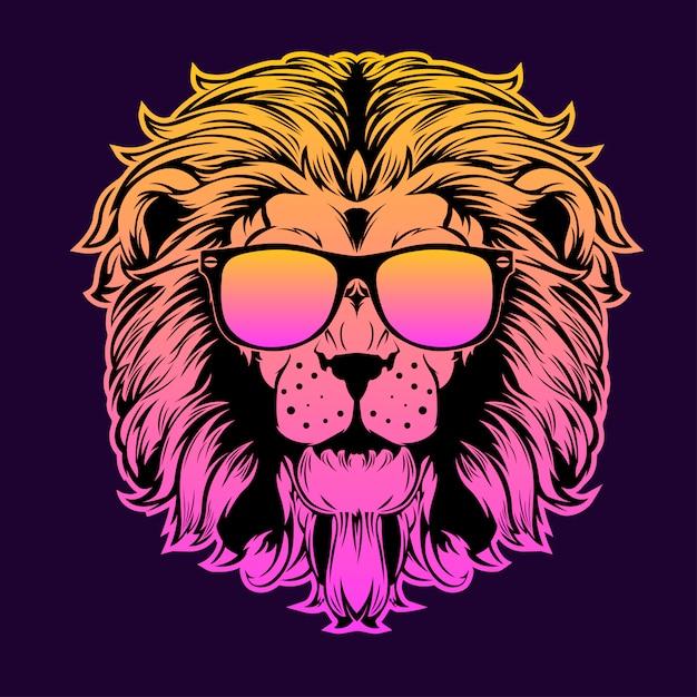 Lion head brillen Premium Vector