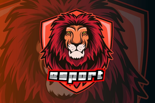 Lion head e-sports team logo sjabloon Premium Vector