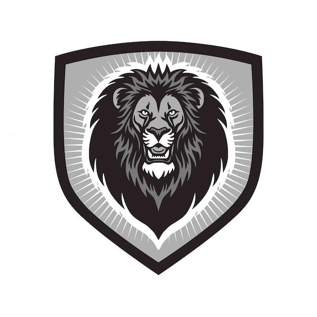 Lion head esports mascot logo-sjabloon Premium Vector