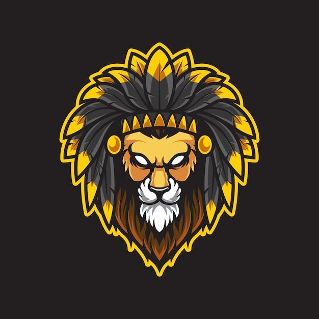 Lion hoofd logo illustratie Premium Vector