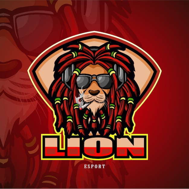 Lion hoofd mascotte esport logo. Premium Vector