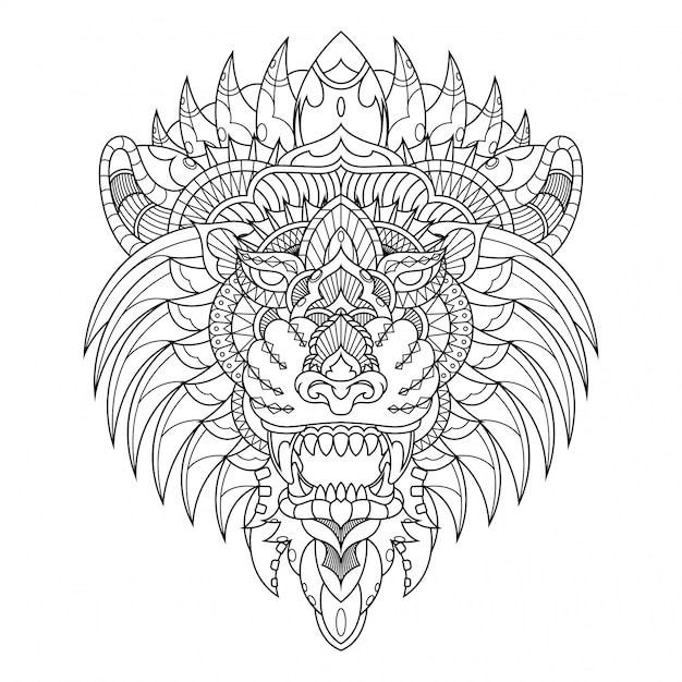 Lion illustratie, mandala zentangle in kleurboek in lineaire stijl Premium Vector
