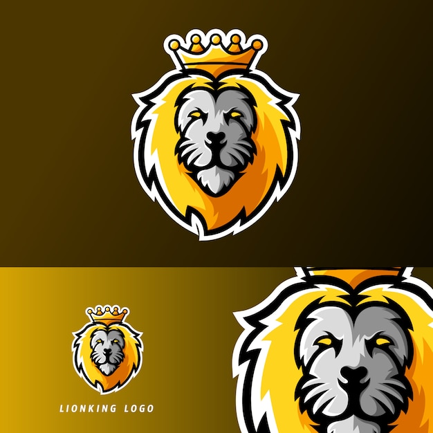 Lion king animal sport of esport gaming mascotte logo Premium Vector