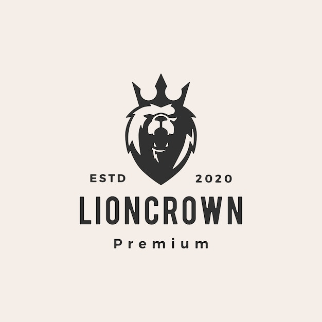 Lion king crown hipster vintage logo pictogram illustratie Premium Vector