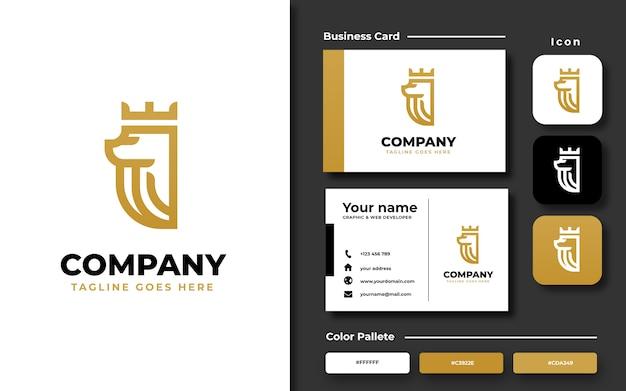 Lion king logo sjabloon met visitekaartje Premium Vector