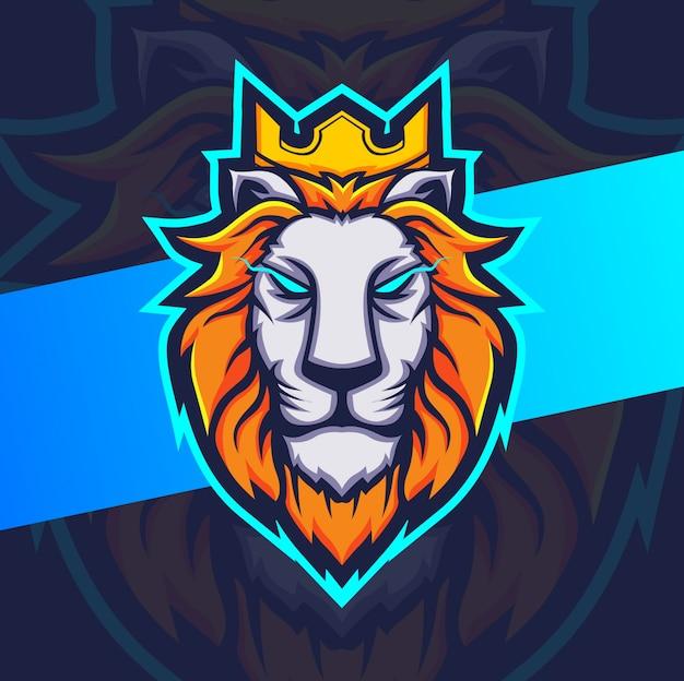 Lion king mascotte esport-logo Premium Vector