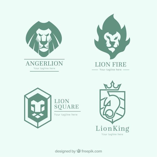 Lion logo collectie met abstracte stijl Premium Vector