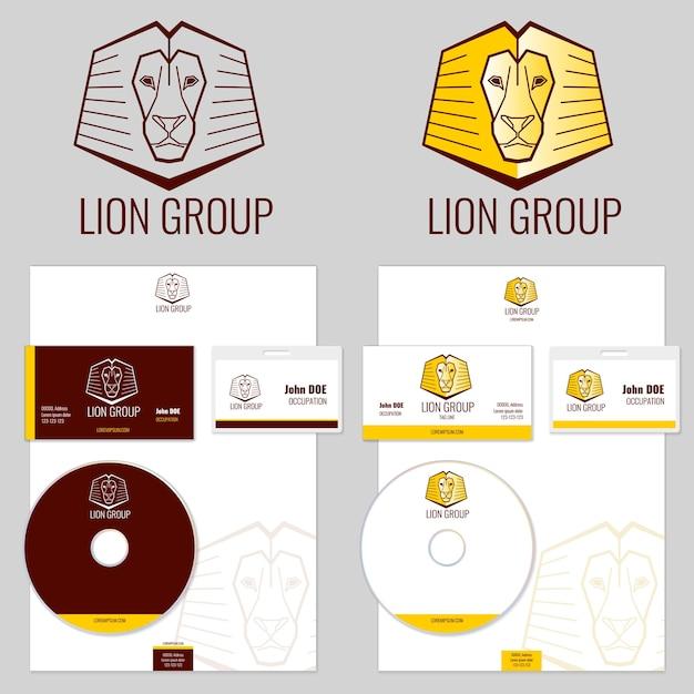 Lion logo vector sjablonen instellen voor uw bedrijf. branding logo, dier logo hoofd, embleem branding leeuw illustratie Gratis Vector