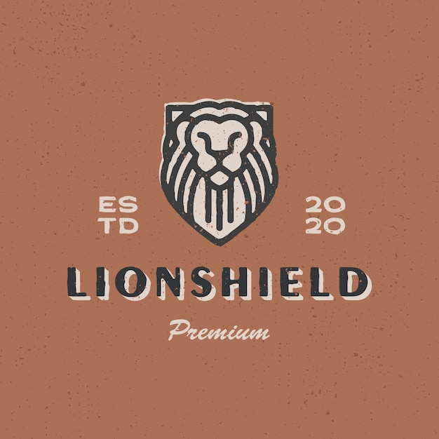 Lion schild vintage logo pictogram illustratie Premium Vector