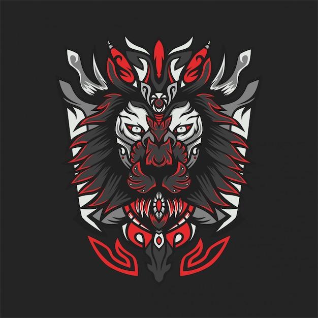 Lion x hunter vector illustratie Premium Vector