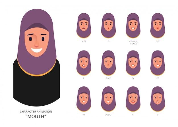 Lip sync mond animatie arabisch of moslim. Premium Vector