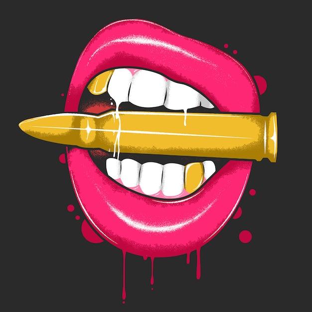 Lippen die bullet met bloed en goud tandenkunstwerkvector beweren Premium Vector