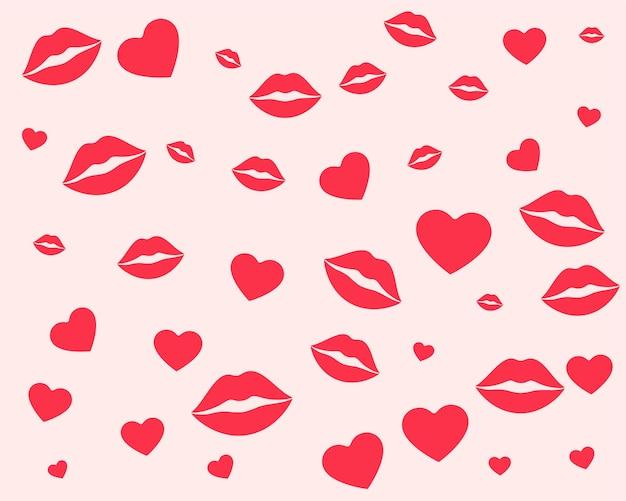 Lippen en hartenpatroon voor valentijnsdag Gratis Vector