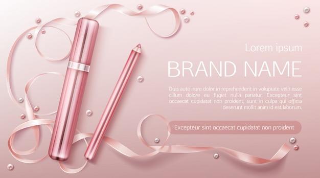 Lippenstift met sjabloon voor lintbanner Gratis Vector