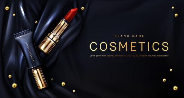 Lippenstiftcosmetica vormen de banner van schoonheidsproducten Gratis Vector