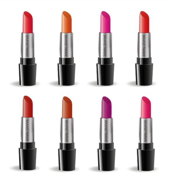 Lipstick realistische pakket set, geïsoleerd op een witte achtergrond. 3d-collectie van gekleurde lippenstiften, mock-up van cosmetica voor merksjabloon. . Premium Vector