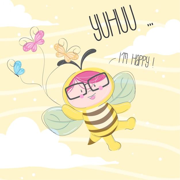 Little bee hand getrokken illustratie-vector Premium Vector