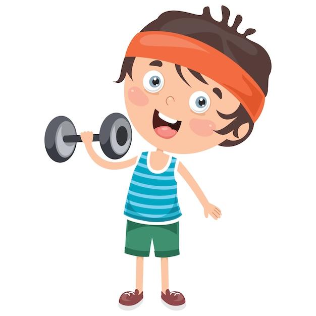 Little boy die gewichtheffenoefening maken Premium Vector