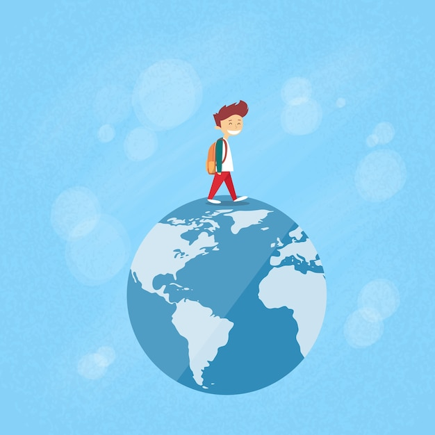 Little boy walk op globe wereldkaart concept reizen Premium Vector