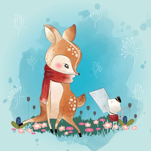 Little deer krijgt een brief Premium Vector