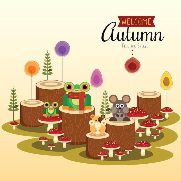 Little frog and friends verwelkomen herfst Premium Vector