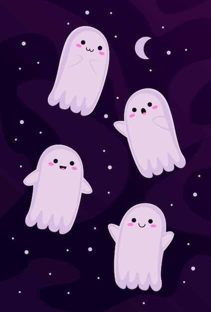 Little ghosts set Premium Vector