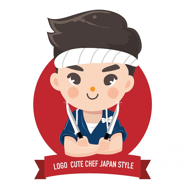 Little japan boy chef Premium Vector