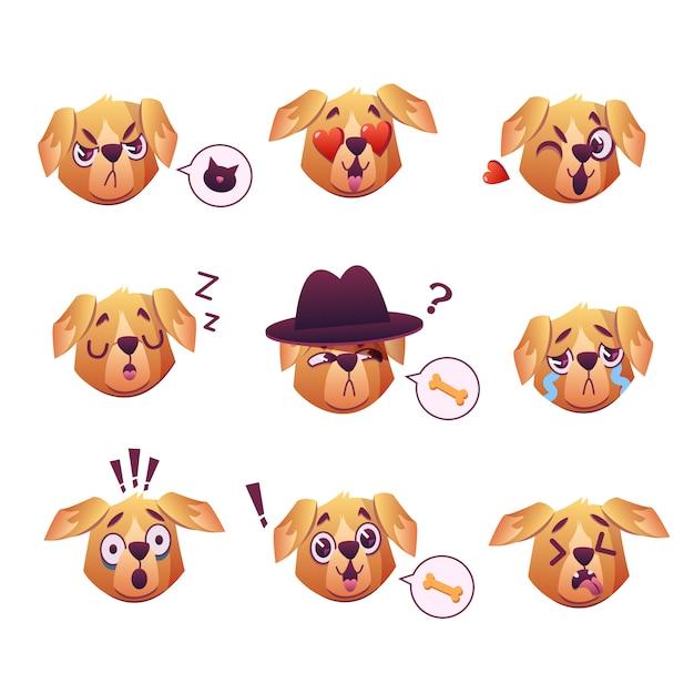 Little pet pug dog puppy with collar verzameling van emoji gezichtsuitdrukkingen Gratis Vector