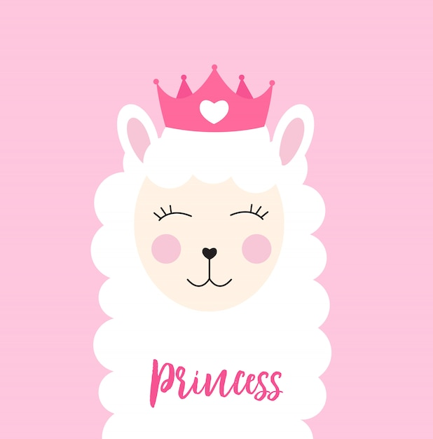 Little princess-lama met kroon Premium Vector