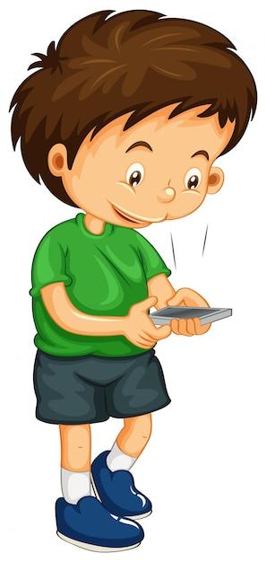 Littley-jongenskiesnummer op de telefoon Gratis Vector