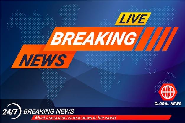 Live breaking news-bannermalplaatje Gratis Vector