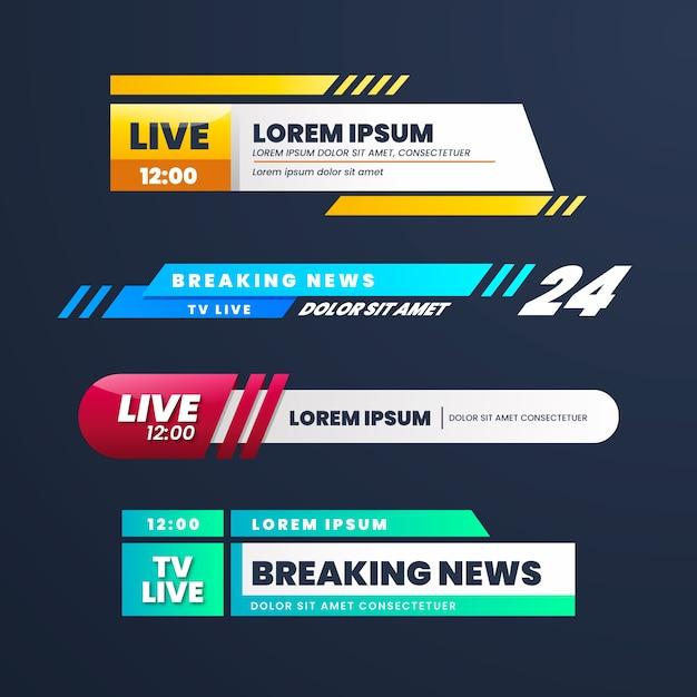 Live breaking news banners design Gratis Vector