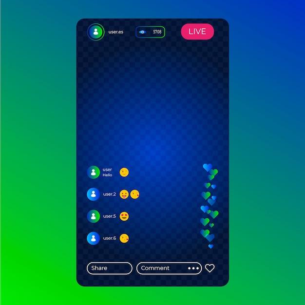 Live interface sjabloon voor instagram-interface Gratis Vector