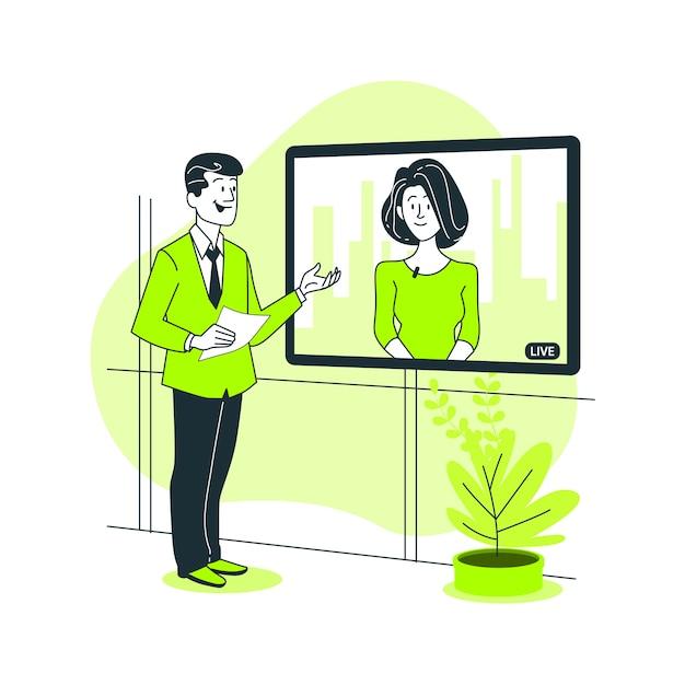 Live samenwerking concept illustratie Gratis Vector