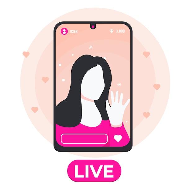Live stream concept geïllustreerd Gratis Vector