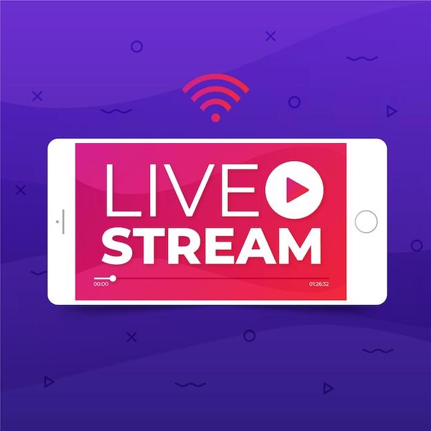 Live stream concept met telefoon Gratis Vector