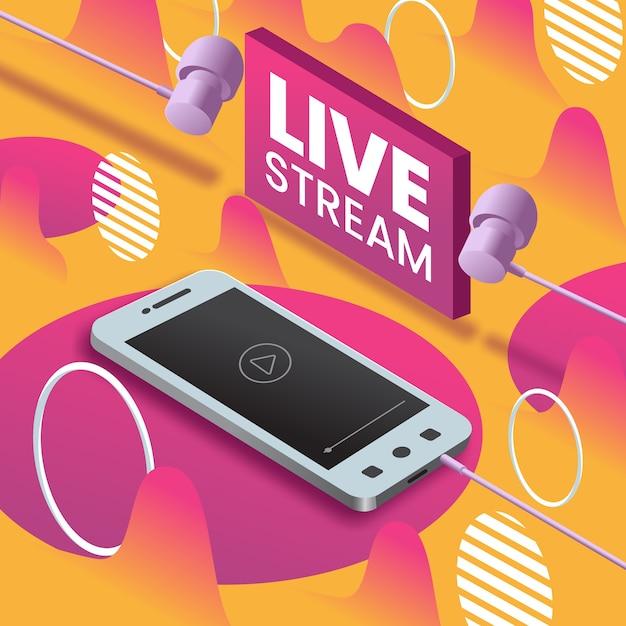 Live stream concept op mobiel Gratis Vector
