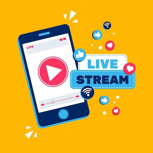 Live stream concept Gratis Vector