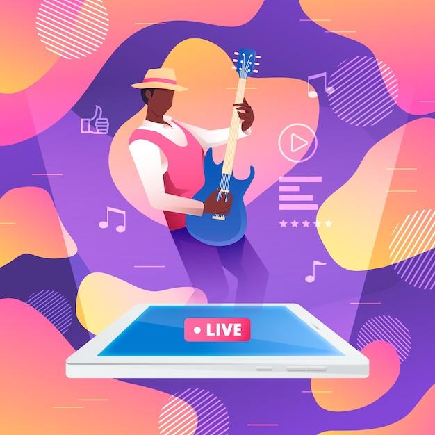 Live stream illustratie concept met man gitaarspelen Gratis Vector