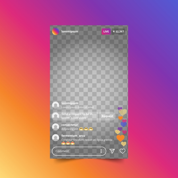 Live stream instagram interface sjabloon Gratis Vector