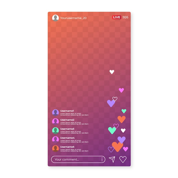 Live stream instagram-interface Gratis Vector