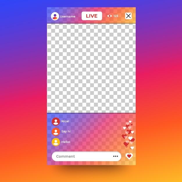 Live stream instagram-interface Gratis Vector