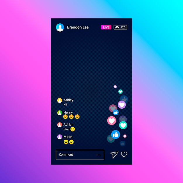 Live stream instagram-sjabloon Gratis Vector