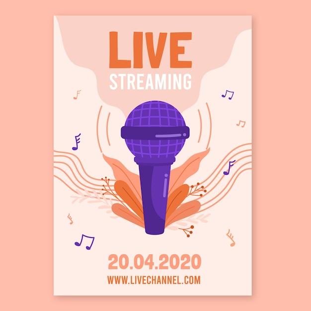 Live stream muziek concert posterontwerp Gratis Vector