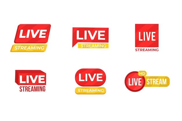 Live stream nieuws banners sjabloon Gratis Vector