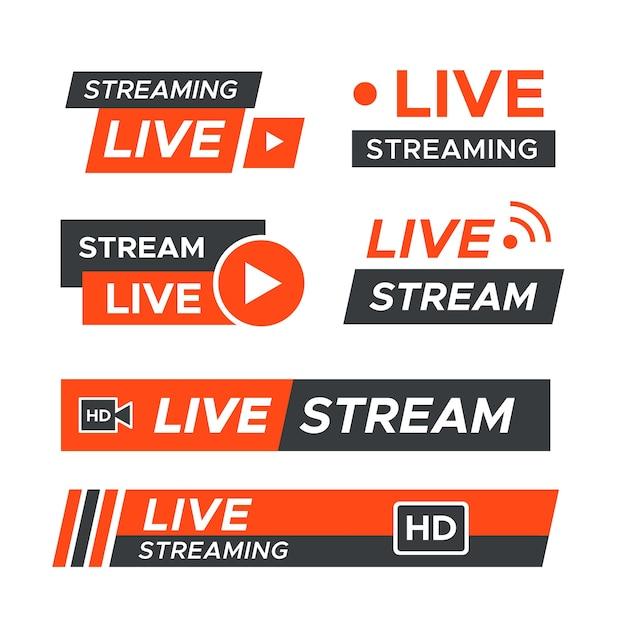 Live stream nieuws banners thema Gratis Vector