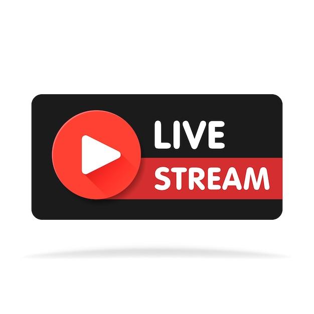 Live streaming banner - rode vector ontwerpelement met afspeelknop. vector illustratie. Premium Vector