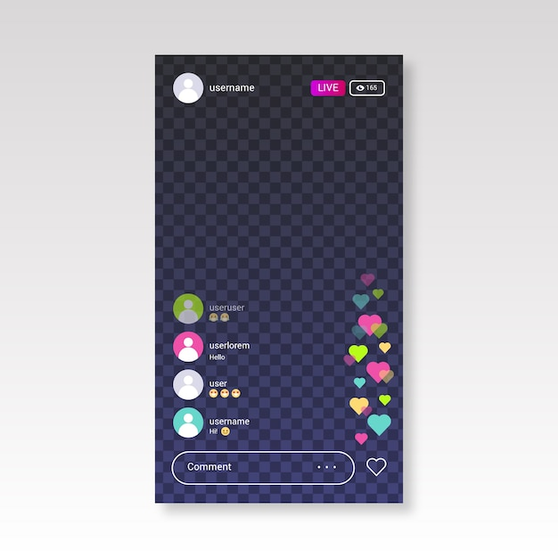 Live streaming instagram-interface Gratis Vector