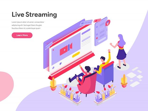 Live streaming isometrische illustratie concept Premium Vector